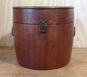 Vintage Faux Leather Textured Wrapped Wood Round Storage Decorative