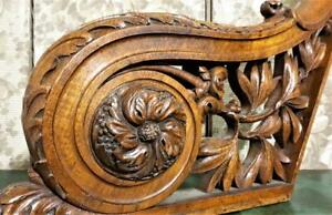 Large rosette wood carving corbel bracket Antique french architectural salvage