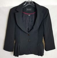 White House Black Market Womens Blazer Jacket Black Peplum Stretch Size 0 TP623
