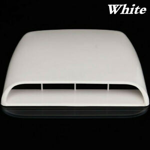 White Air Flow Intake Hood Vent Decor Cover fit for Car Bonnet Scoop Universal