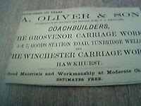 ephemera 1902 advert tunbridge wells a oliver & son coachbuilders
