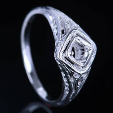 4 mm Round Cut Sterling Silver 925 Engagement Antique / Vintage Ring Semi Mount