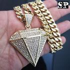 Gold PT Big Diamond Shape Pendant & 10mm 30