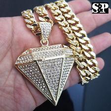 """Gold PT Big Diamond Shape Pendant & 10mm 30"""" Cuban Heavy Chain Hip Hop Necklace"""