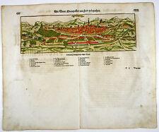 SEBASTIAN MÜNSTER COSMOGRAPHIA HOLZSCHNITT ANSICHT VIEW MONTPELLIER 1598 #D981S