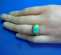 Natural Black Opal Vintage Deco Hand Made one of a kind Designer Ring size 6.25