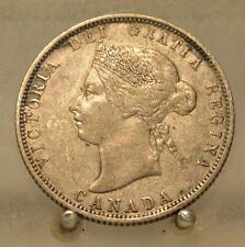1872 H Canada Silver Quarter, Old Sterling Silver 25 Cent Coin