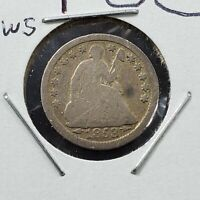 1853 5c Seated Liberty Silver Half Dime Coin Average Good Circulated w/ Arrows