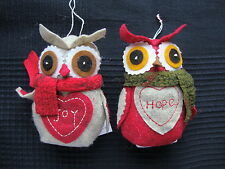2 Felt Owls Christmas Hanging Tree Decorations JOY & HOPE or standing decoration