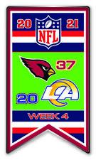 2021 Semaine 4 Bannière Broche Arizona Cardinals Vs. L. A. Los Angeles Rams Très