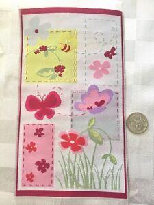 DOLLHOUSE MINIATURE **PINK BUTTERFLY, BEE, FLOWER - RUG MAT FOR DOLLS**10 x 19cm