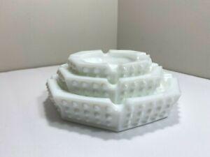 Vtg Set 3 Fenton Octagonal Hobnail White Milk Glass Ashtrays Nesting Stacking (J