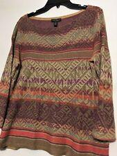 bacb54c49 Ralph Lauren Women s Multi-Color Aztec Print LS Linen Open Knit Sweater M