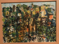 Vintage MODERN ABSTRACT OIL On Canvas PAINTING Wood Framed Free Shipping