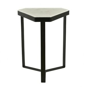"""18"""" T Set of 2 Accent Table Unique Modern Styling Solid Marble Top Iron Base"""