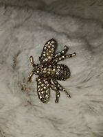 KENNETH LANE Rhinestone Large Bee Insect Bug Brooch Pin Jewelry