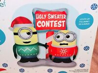 New 6' MINION STUART BOB UGLY SWEATER AIRBLOWN INFLATABLE Lights Gemmy Christmas