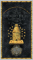 """Bumble Bee Hive Garden Bees Black Cotton Fabric Wilmington A Bees Life 24"""" Panel"""