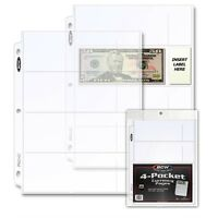 Clear 4 Pockets 20 Pages for Banknotes / US Currency Bill Collection BCW 3 Rings
