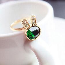 Women Cute Bunny Gem Rhinestone Ring Opening Adjustable Rhinestone Ring、New