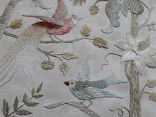 Antique vintage hand embroidery crewel work Jacobean style bird floral botanical