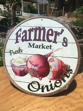 Farmers Market Fresh Onions Round Sign Tin Vintage Garage Bar Decor Old Rustic