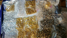Silver & Gold Beads, Charms, Earring Wire, Clasp, Blank Rings Soup Mix #SGM1