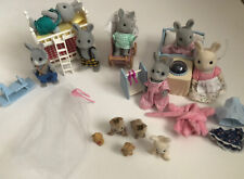 Big Lot Of Calico Critters, Bunnies,Furniture, Baby Accessories
