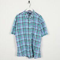 Vintage TOMMY HILFIGER Small Logo Short Sleeve Check Shirt Blue   2XL