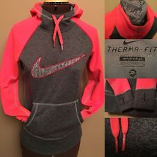 NIKE THERMA Fit Size X S Pink Neon Gray Pullover Hoodie Woman Thumbholes