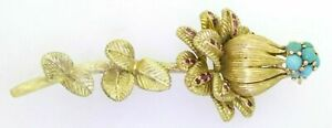 .75ct Ruby Turquoise 18K Gold Italy Flower Brooch