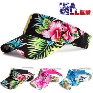 Sun Visor Cap Hawaii Floral Flower Hat Adjustable Sports Golf Beach Men Women