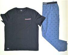 Lacoste Men's 2 Piece Lounge Set Navy Short Sleeve T Shirt Jogger Pant Size XL