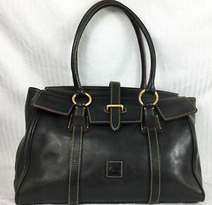 Dooney Bourke Florentine Vachetta Black Top Handle Tote Shoulder Bag