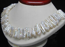 natural south sea white abnormal shape pearl necklace 18''