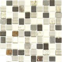 Glasmosaik Naturstein grau/schwarz/weiß mix Küche Bad WC Art:WB82-0102 1 Matte