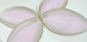 MODERN ORIGINAL ABSTRACT CANVAS PAINTING BUTTERFLY PINK GOLD WHITE DEE FUNKY ART