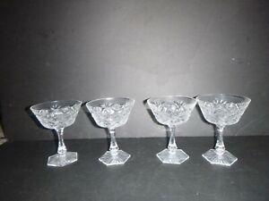 ANTIQUE SET 10 ABG AMERICAN BRILLIANT PERIOD CUT GLASS CHAMPAGNE SHERBET COUPE