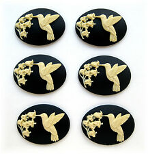 Valley on Black 40mm x 30mm Craft Cameos 6 Ivory color Hummingbird & Lily of the