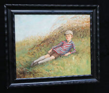 "1928 SWEDISH OIL PAINTING ""RECLINING YOUNG BOY"" by OSCAR LINDSTROM (Ha)"