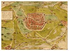Leiden South Holland Netherlands bird's-eye view map Braun Hogenberg ca.1575