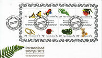 New Zealand NZ 2012 FDC Personalised Stamps 8v Sheet Cover Rings Teddy Bear Rose