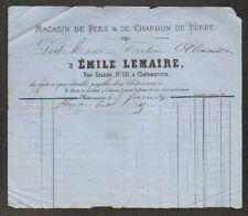 """CHATEAUROUX (36) MAGASIN de FERS & CHARBONS DE TERRE """"Emile LEMAIRE"""" en 1880"""