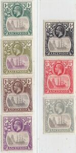 ASCENSION ISLAND 1924-1933  ISSUE STAMPS SCOTT 10/13+16+18/19=SG.10/13+15d+17/18