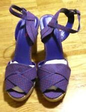 NWOT Material girl high heel wedge peep blue red polka dot shoes sandals 39 9