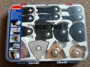 New workpro 24 piece oscillating accessories kit in case sander cutter rotary