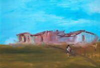 Arte Moderna Dipinto Olio su tela firmato Raf Tempesta Madre e figlio