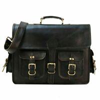 Men's Genuine Leather Vintage Laptop Messenger Handmade Briefcase Bag BLACK