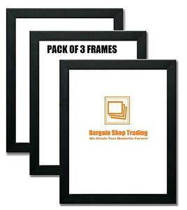 Pack Of 3 Modern Picture Photo Poster Frames A1 A2 A3 A4 A5 A6 Black Oak White