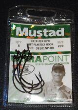 5 Mustad 38101NPBN-20 Black Nickel Grip Pin KVD Soft Plastic Hooks Size 2/0